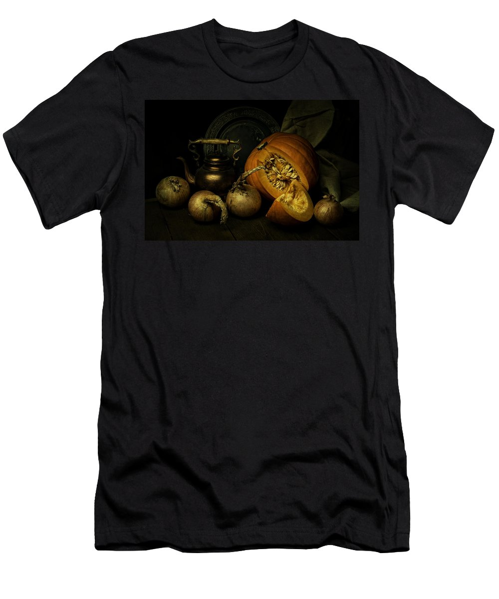 Still Life Men's T-Shirt (Athletic Fit) featuring the photograph Still Life With Pumpkin And Onions by Jaroslaw Blaminsky