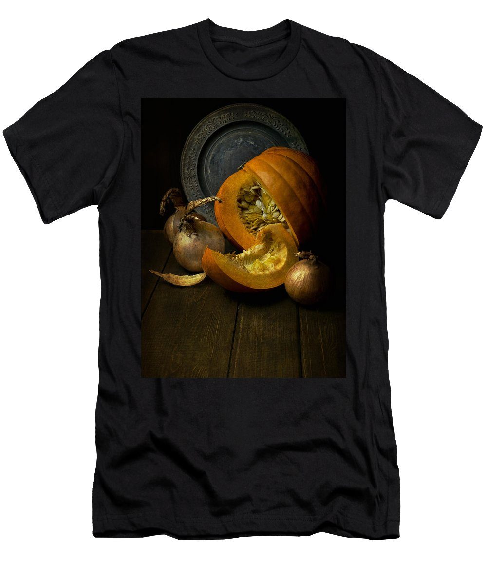 Still Life Men's T-Shirt (Athletic Fit) featuring the photograph Still Life With Pumpkin by Jaroslaw Blaminsky