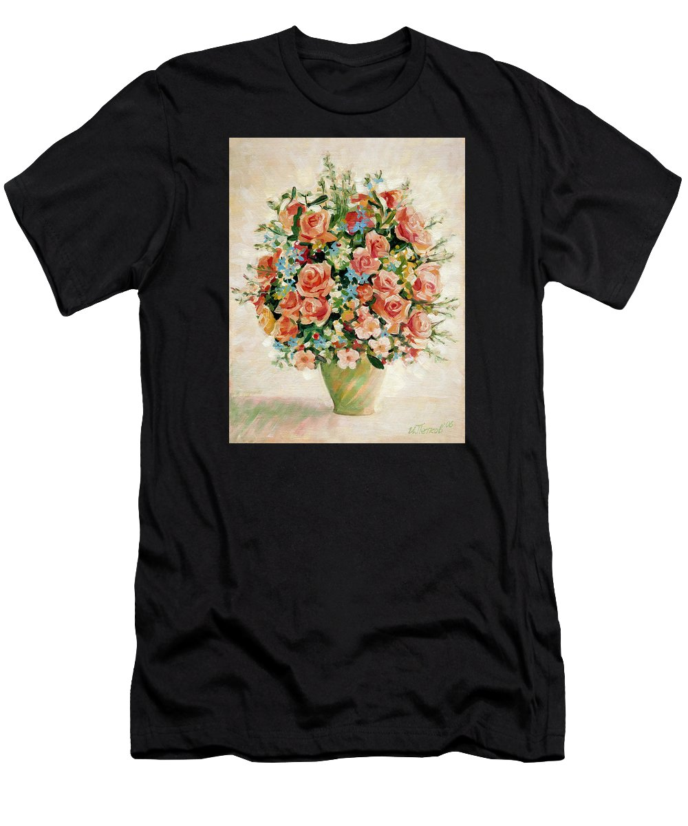 Flowers Men's T-Shirt (Athletic Fit) featuring the painting Still Life With Roses by Iliyan Bozhanov