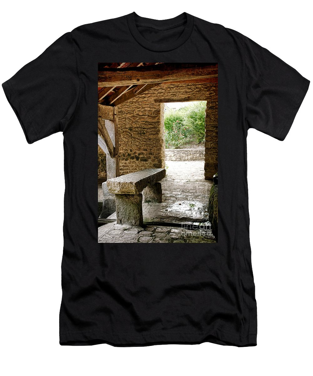 France Men's T-Shirt (Athletic Fit) featuring the photograph Stone Bench by Olivier Le Queinec