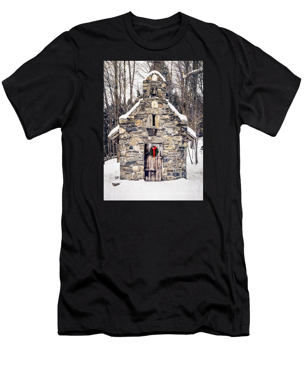 Chapel T-Shirt featuring the photograph Stone Chapel In The Woods Trapp Family Lodge Stowe Vermont by Edward Fielding
