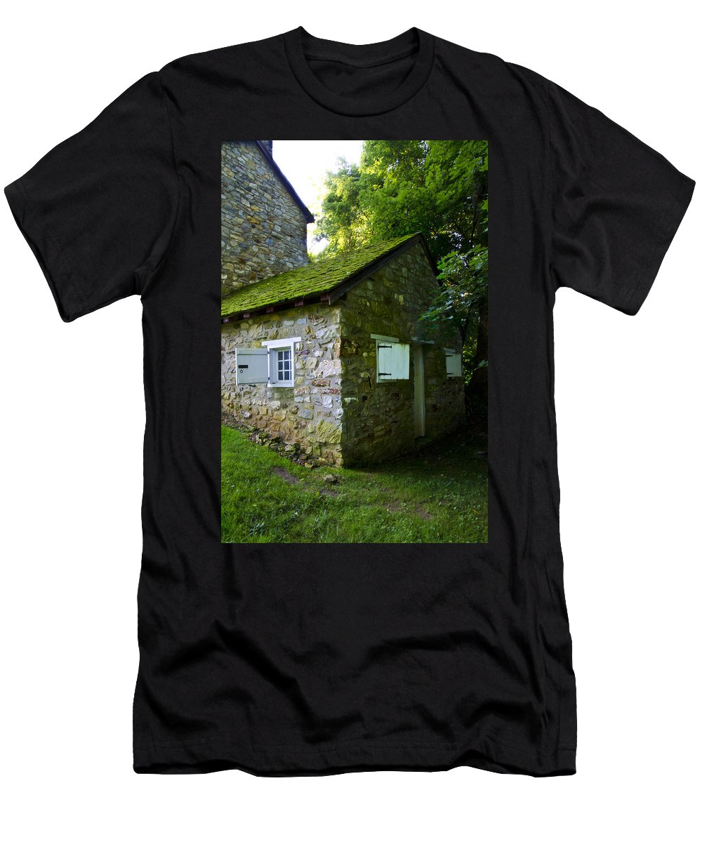 Stone Men's T-Shirt (Athletic Fit) featuring the photograph Stone House With Mossy Roof by Bill Cannon