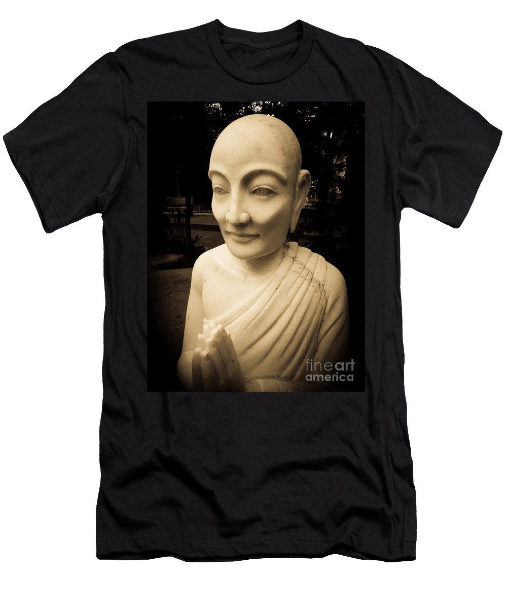 Ancient Men's T-Shirt (Athletic Fit) featuring the photograph Stone Monk by Angela Wright