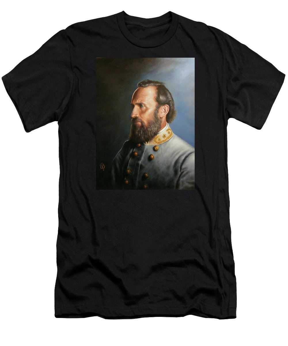 Stonewall Jackson Men's T-Shirt (Athletic Fit) featuring the painting Stonewall Jackson by Glenn Beasley
