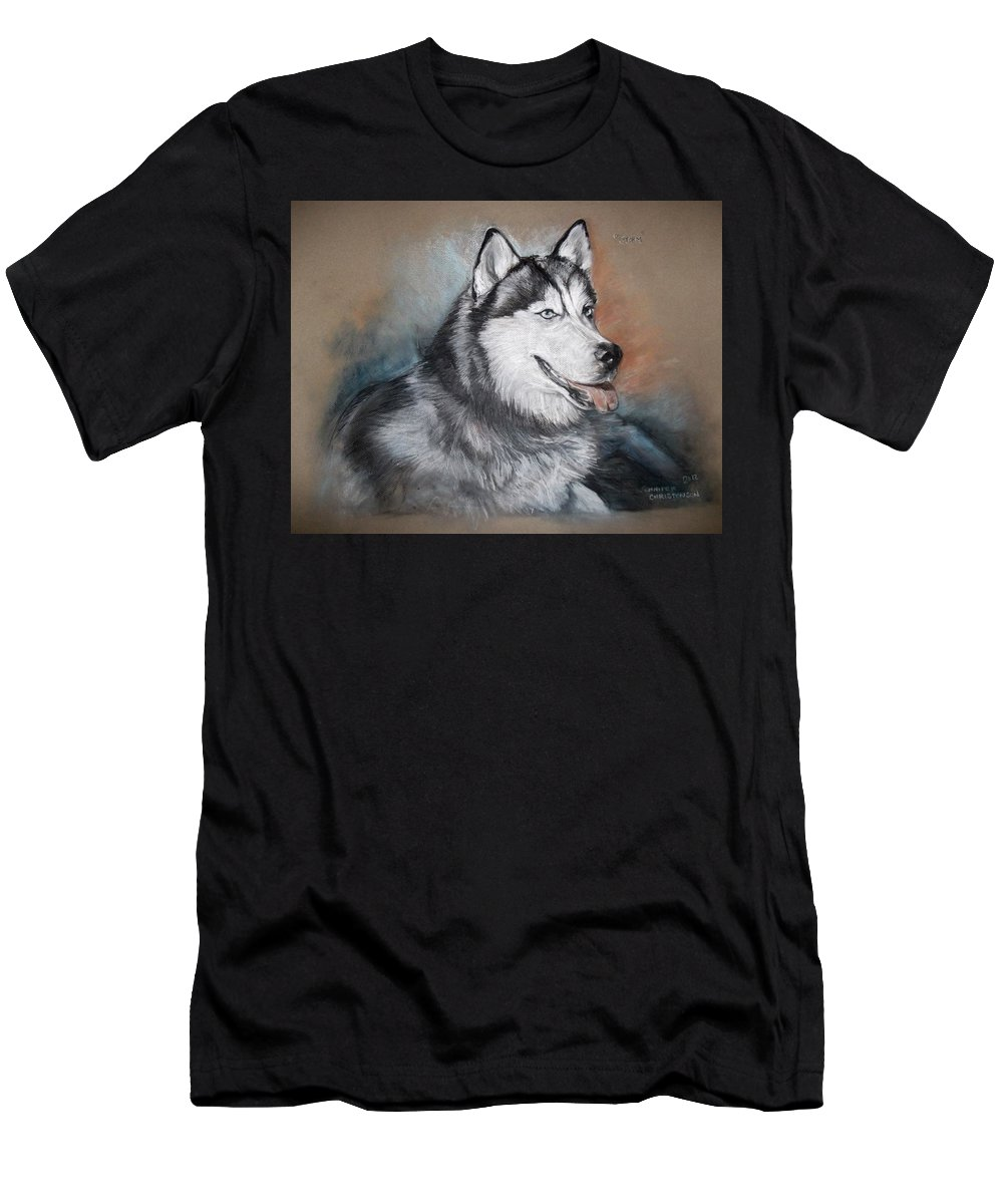 Husky Dog Men's T-Shirt (Athletic Fit) featuring the drawing Storm by Jennifer Christenson