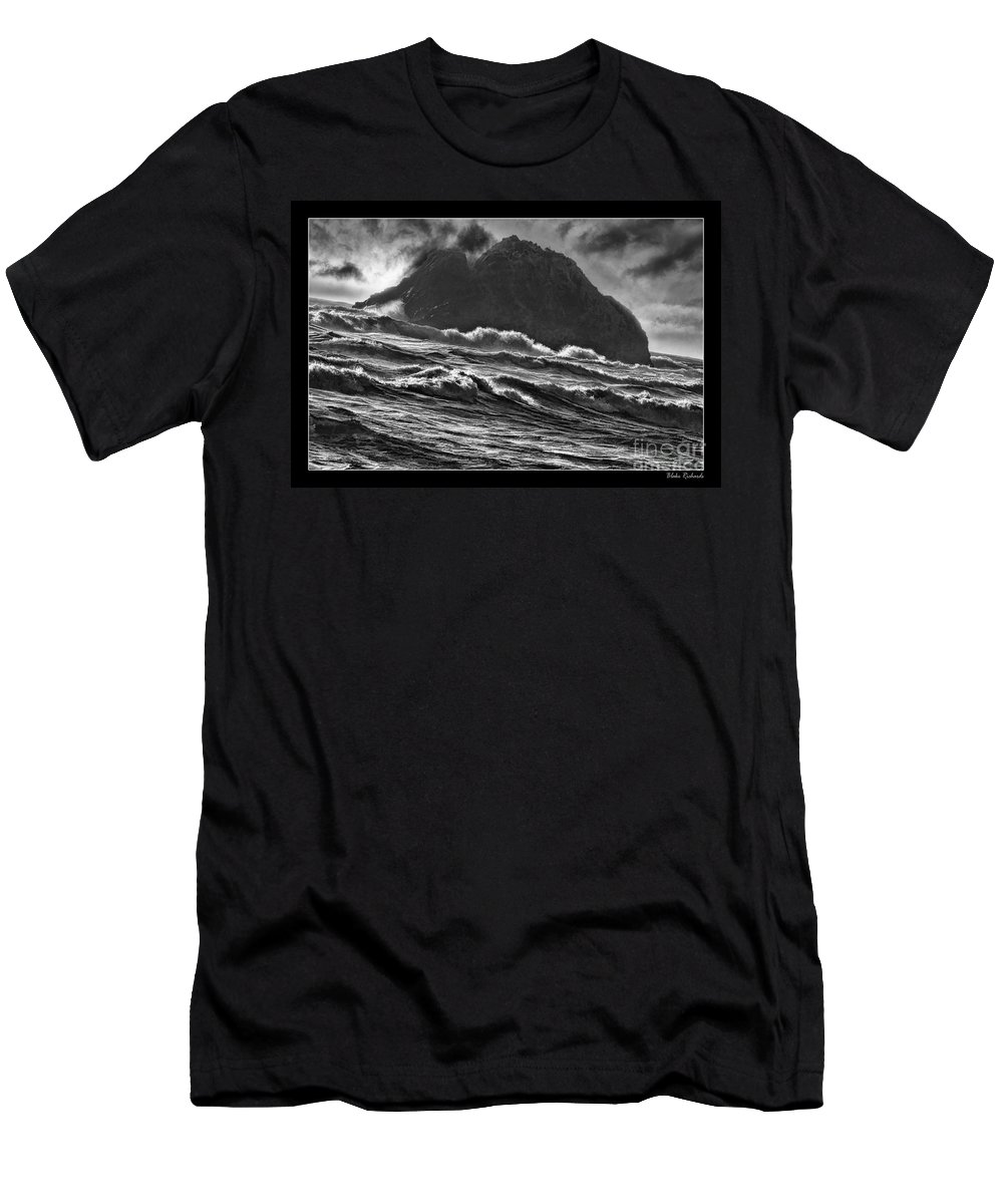 Sea Side Photos Men's T-Shirt (Athletic Fit) featuring the photograph Stormy Rock by Blake Richards