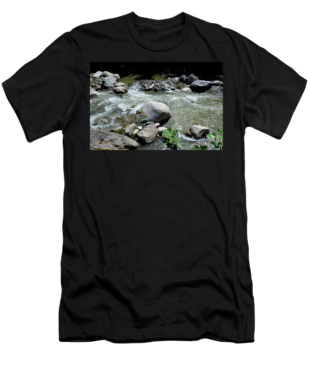 Blue Men's T-Shirt (Athletic Fit) featuring the photograph Stream Water Foams And Rushes Past Boulders by Imran Ahmed
