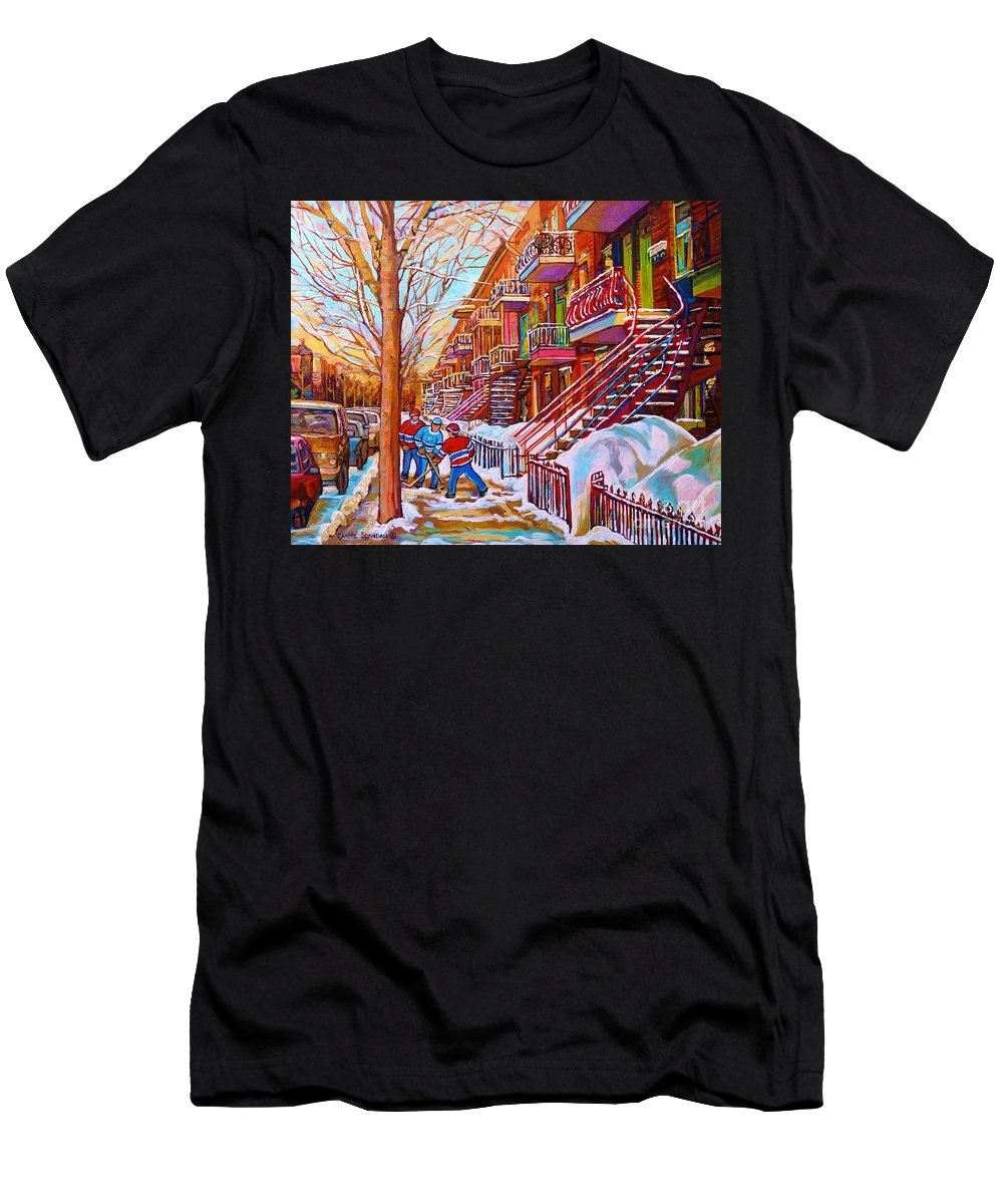 Montreal T-Shirt featuring the painting Street Hockey Game In Montreal Winter Scene With Winding Staircases Painting By Carole Spandau by Carole Spandau