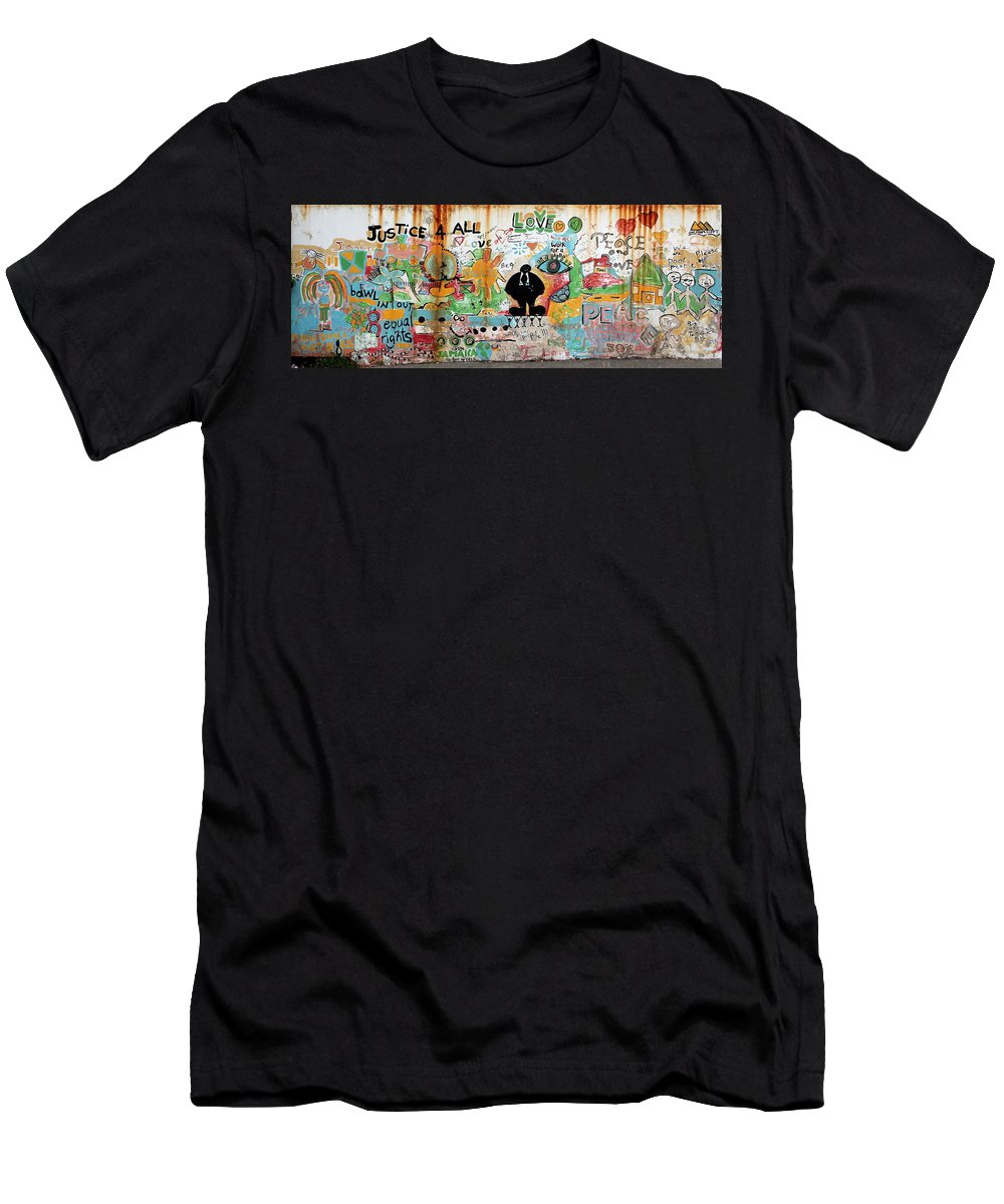 Mural Men's T-Shirt (Athletic Fit) featuring the photograph Street Mural At Liguanea by Laurel Talabere