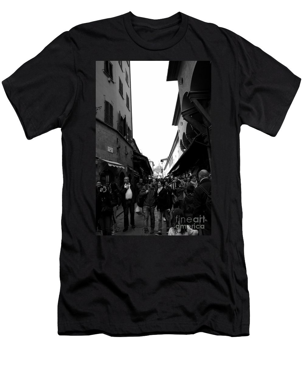 Street Photography Men's T-Shirt (Athletic Fit) featuring the photograph Street Of Florence by Kitrina Arbuckle
