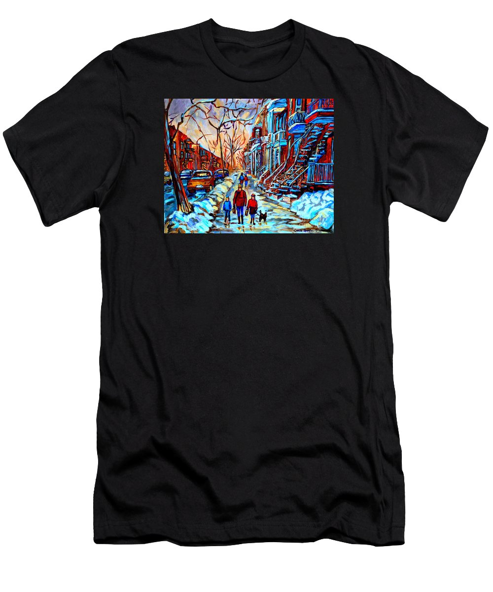 Montreal Men's T-Shirt (Athletic Fit) featuring the painting Streets Of Montreal by Carole Spandau