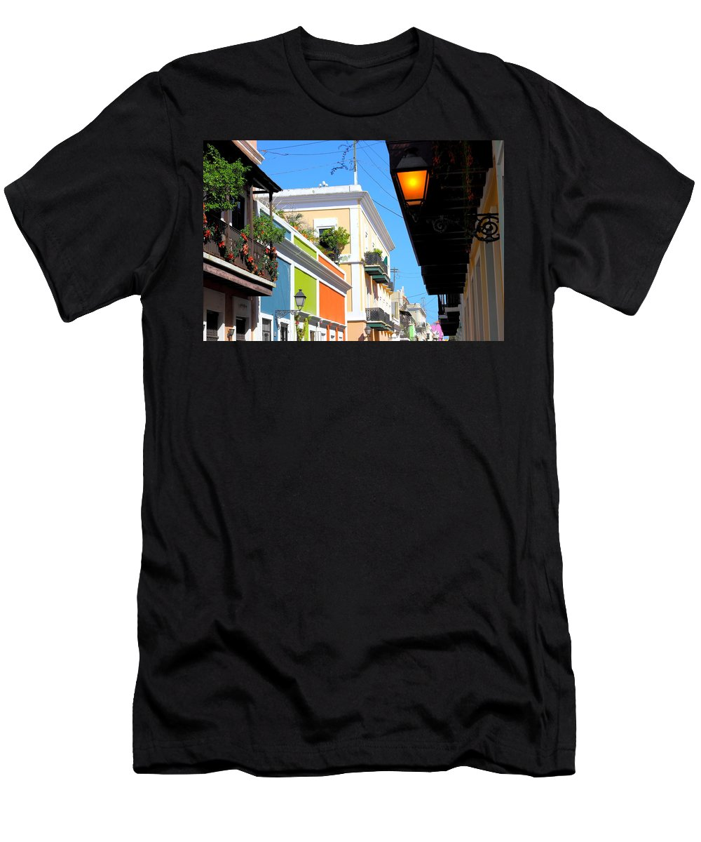 San Juan Men's T-Shirt (Athletic Fit) featuring the photograph Streets Of Old San Juan by Bryan Noll