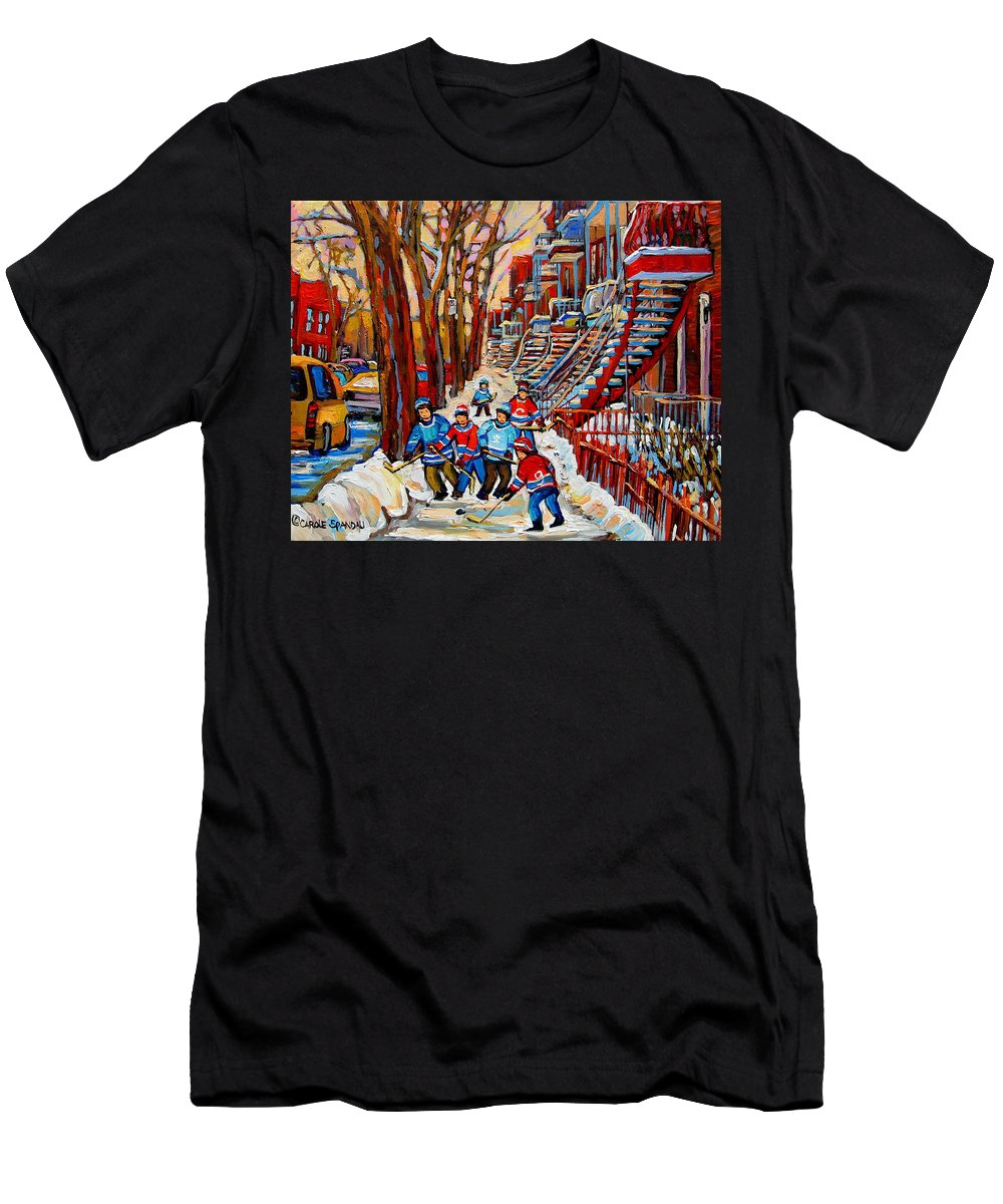 Montreal T-Shirt featuring the painting Streets Of Verdun Hockey Art Montreal Street Scene With Outdoor Winding Staircases by Carole Spandau