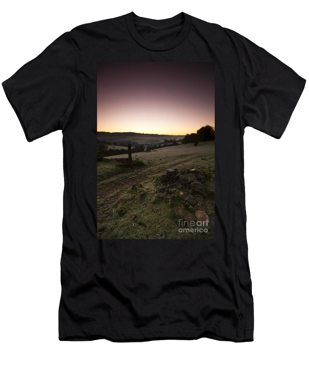 Autumn Men's T-Shirt (Athletic Fit) featuring the photograph Stroud Sunrise by Anne Gilbert