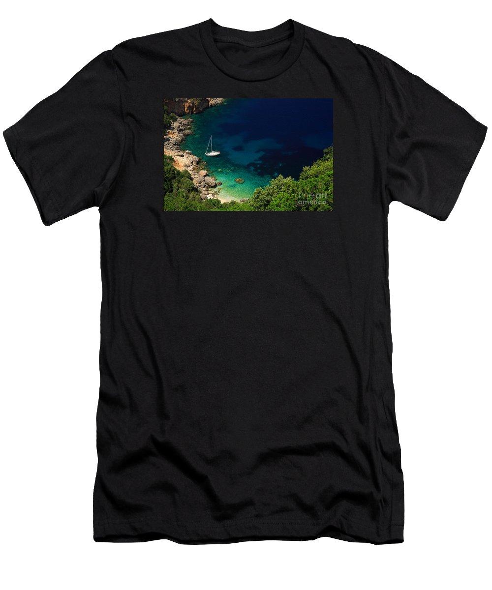 Azure Men's T-Shirt (Athletic Fit) featuring the photograph Stunning Beach Kefalonia by Deborah Benbrook