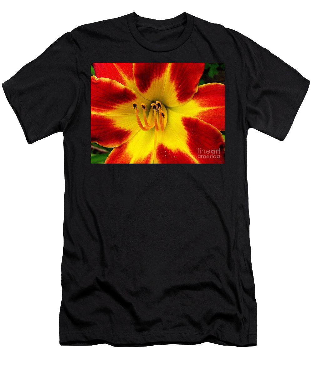 Daylily Men's T-Shirt (Athletic Fit) featuring the photograph Stunning Daylily by CapeScapes Fine Art Photography