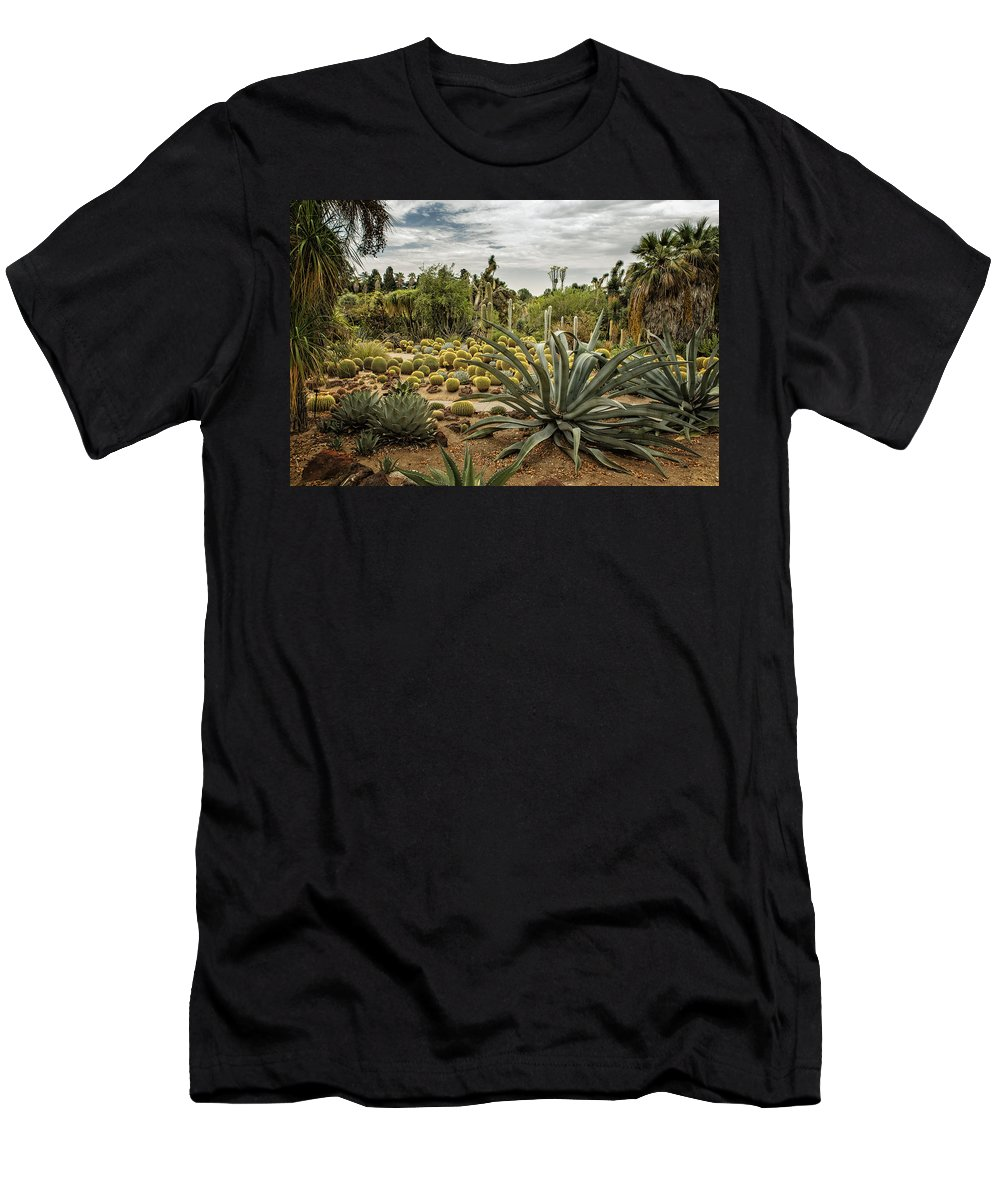 Huntington Desert Garden Men's T-Shirt (Athletic Fit) featuring the photograph Succulents At Huntington Desert Garden No. 3 by Belinda Greb