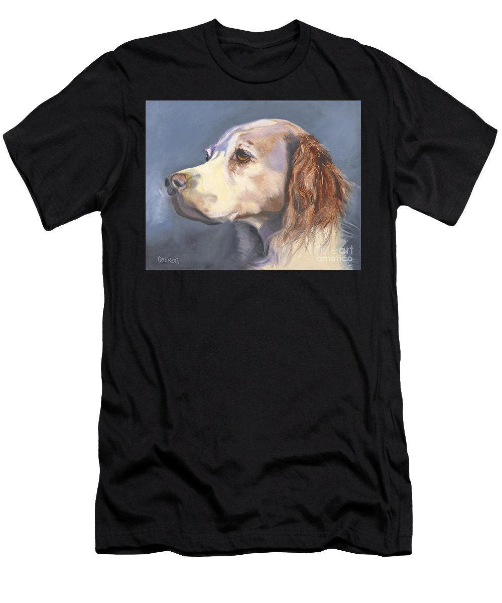 Spaniel Men's T-Shirt (Athletic Fit) featuring the painting Such A Spaniel by Susan A Becker