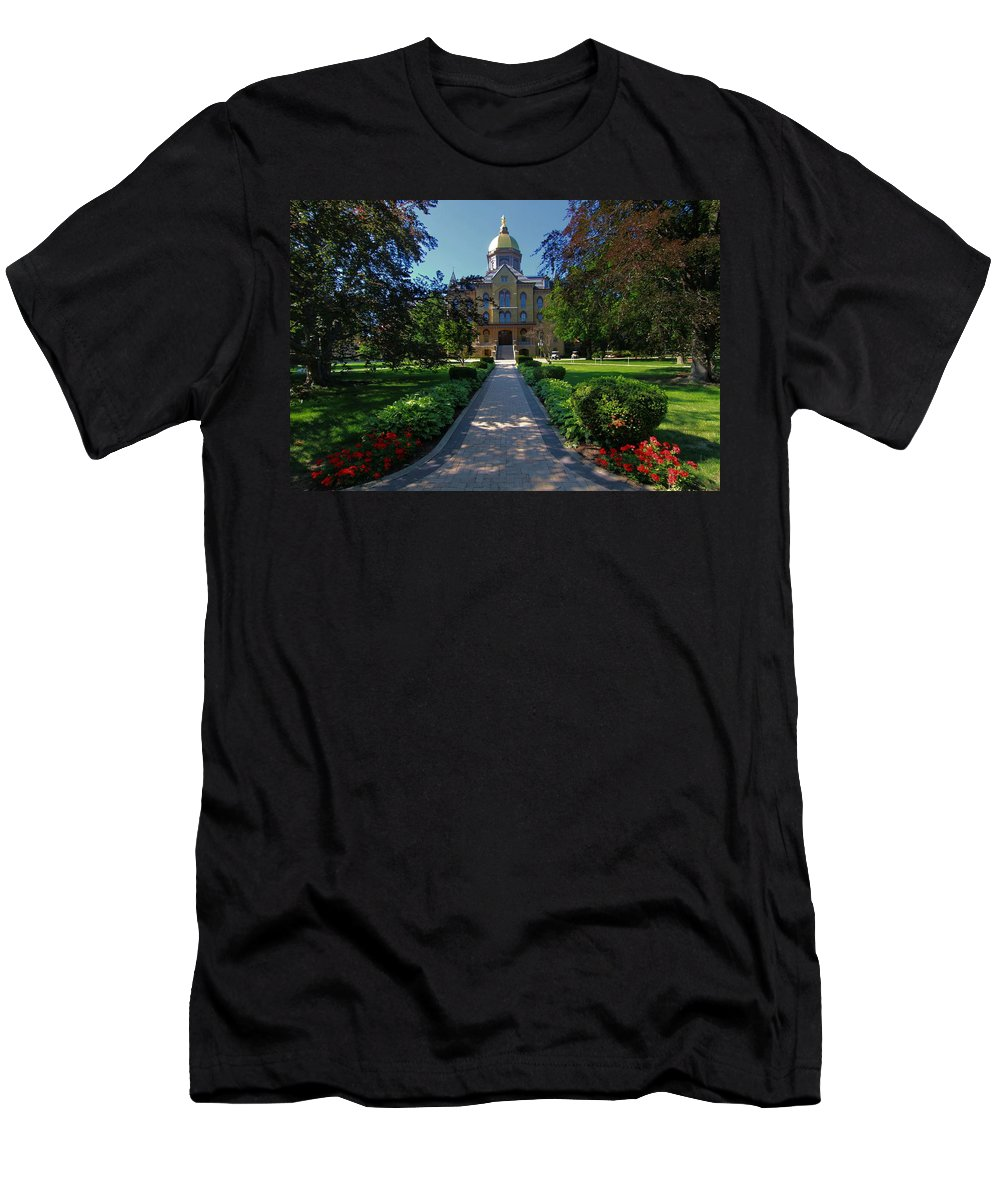 Summer On Notre Dame Campus Men's T-Shirt (Athletic Fit) featuring the photograph Summer On Notre Dame Campus by Dan Sproul