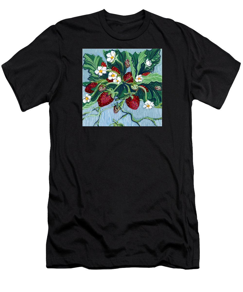 Summer Men's T-Shirt (Athletic Fit) featuring the painting Summer Strawberries by Mary Palmer