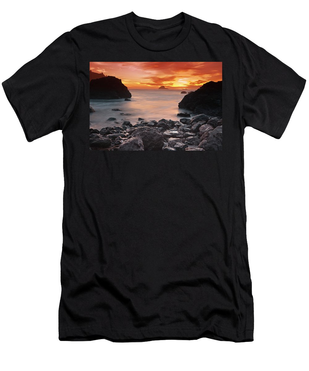 California Northcoast Men's T-Shirt (Athletic Fit) featuring the photograph Sun Descends On Northcoast by Greg Nyquist