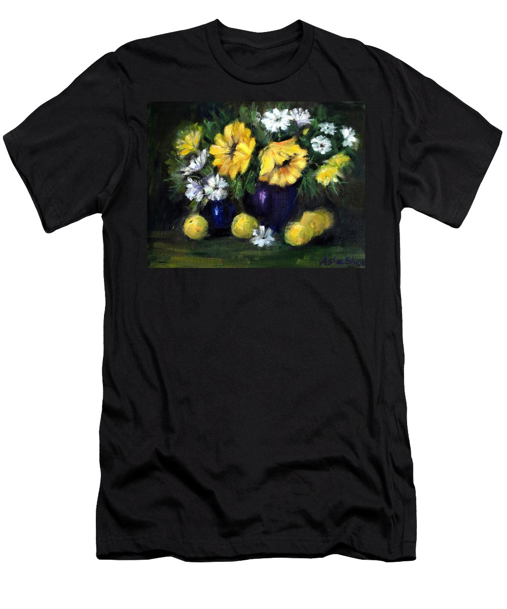 Sunflowers In A Vase Men's T-Shirt (Athletic Fit) featuring the painting Sun Flowers by Asha Sudhaker Shenoy
