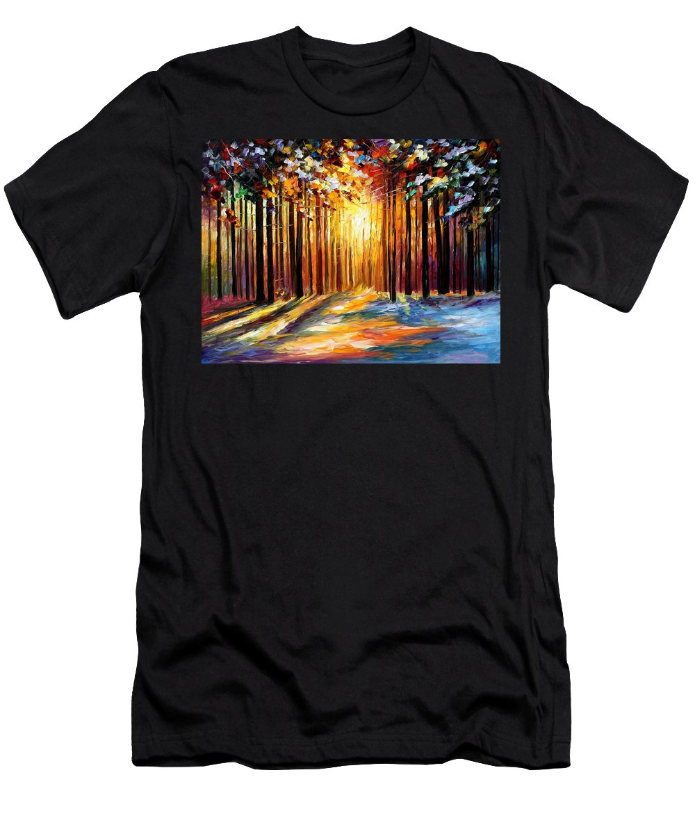Leonid Afremov Men's T-Shirt (Athletic Fit) featuring the painting Sun Of January - Palette Knife Landscape Forest Oil Painting On Canvas By Leonid Afremov by Leonid Afremov