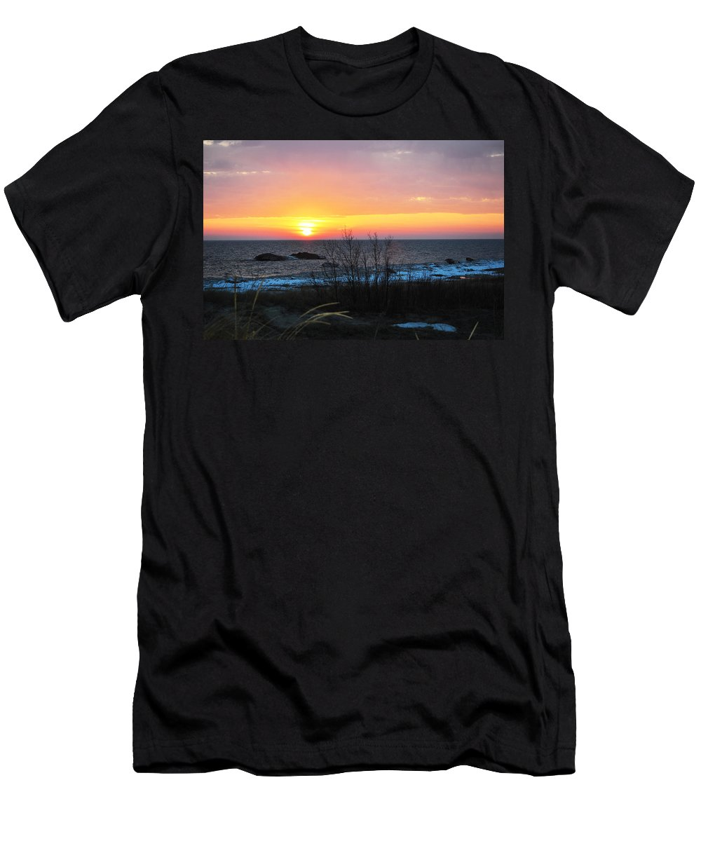 Lake Michigan Men's T-Shirt (Athletic Fit) featuring the photograph Sun On Water by Linda Kerkau