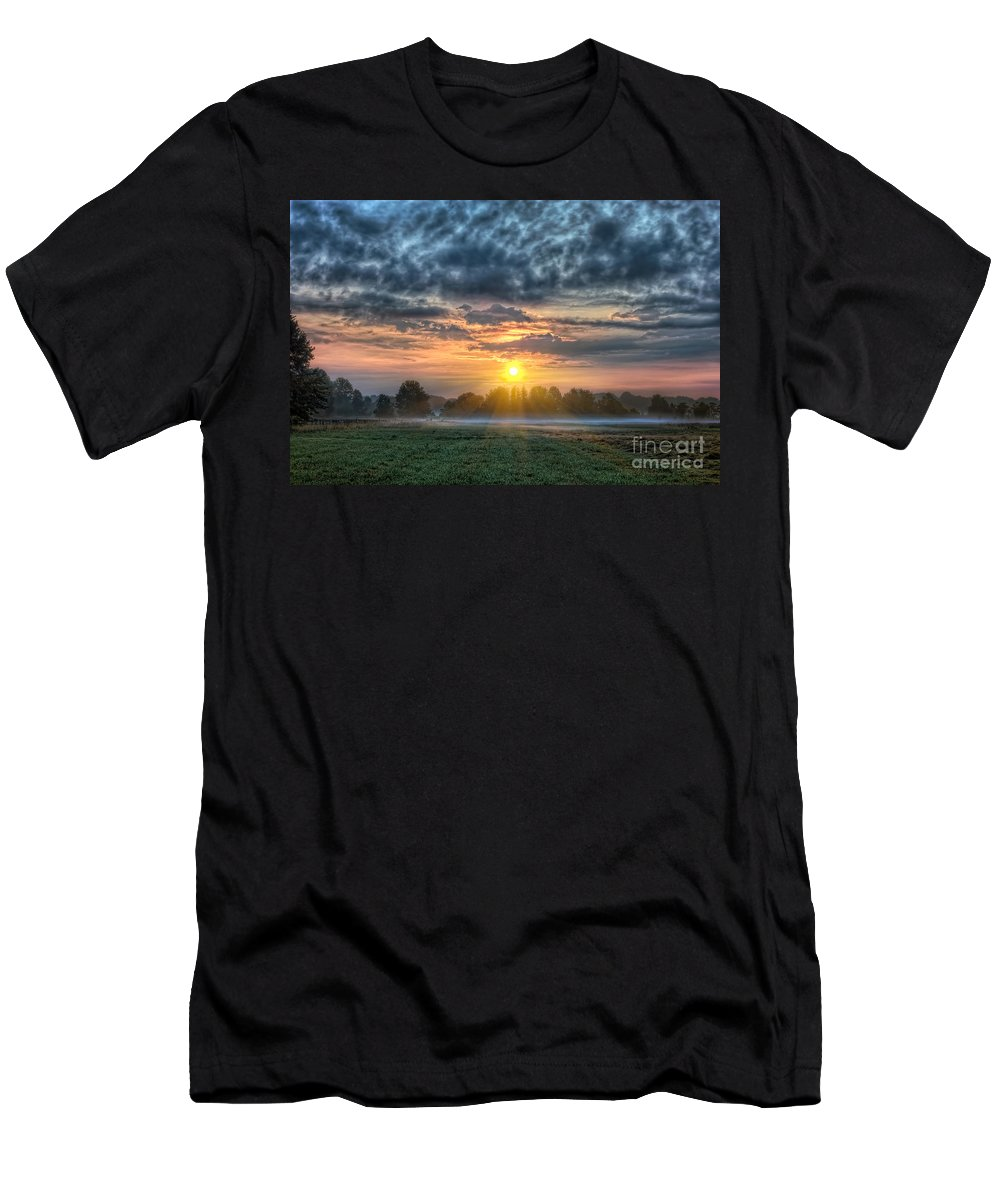 Landscape Men's T-Shirt (Athletic Fit) featuring the photograph Sun Rays Vs Rain Clouds by Michael Ver Sprill