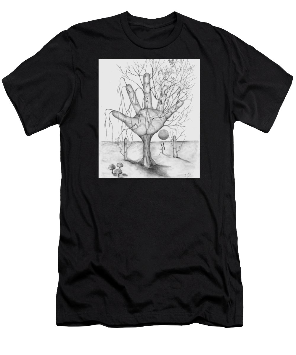 Trees Men's T-Shirt (Athletic Fit) featuring the drawing Sun Rising by John Stuart Webbstock