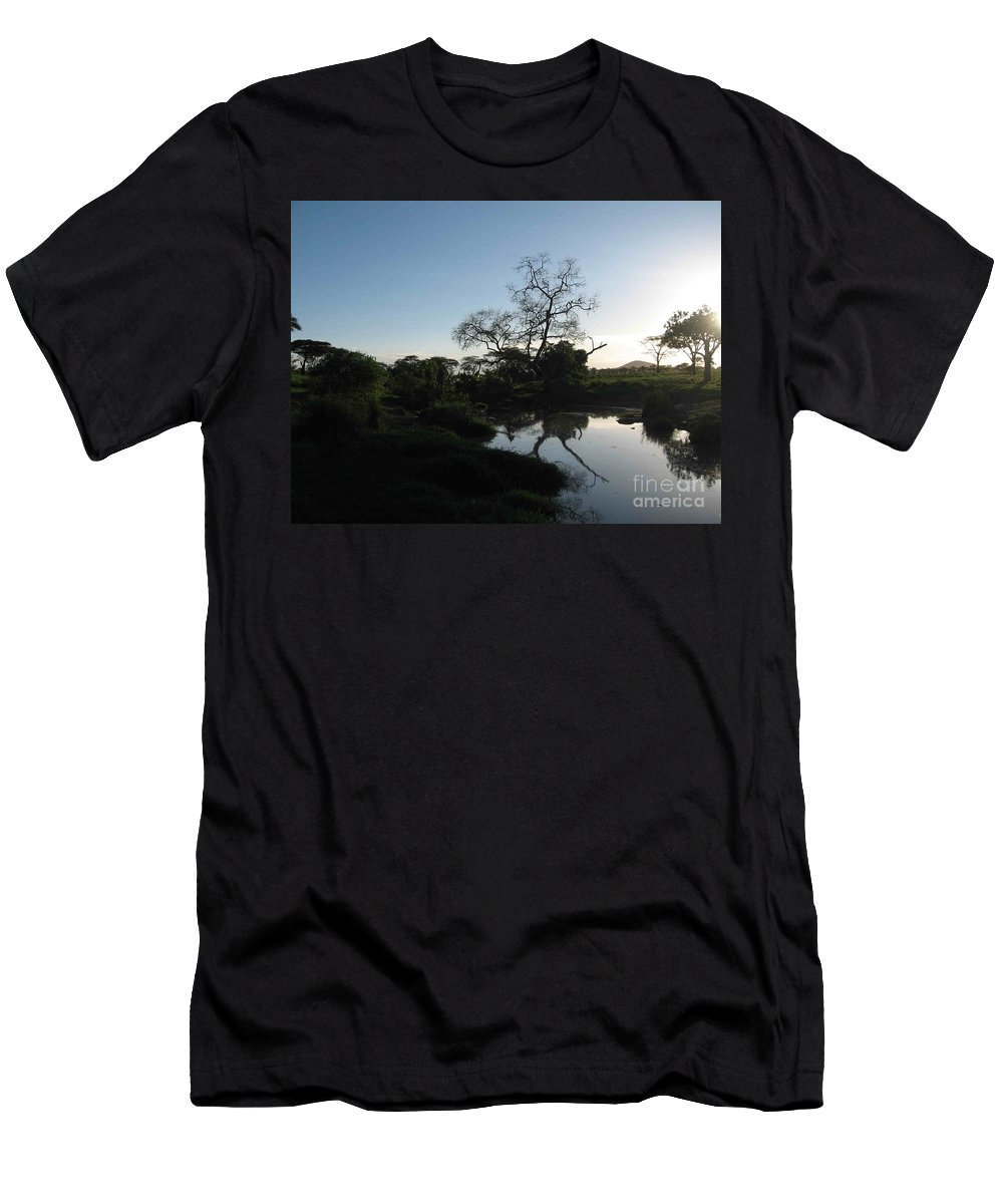 Sun Men's T-Shirt (Athletic Fit) featuring the photograph Sun Sets On Africa by Christina Gupfinger