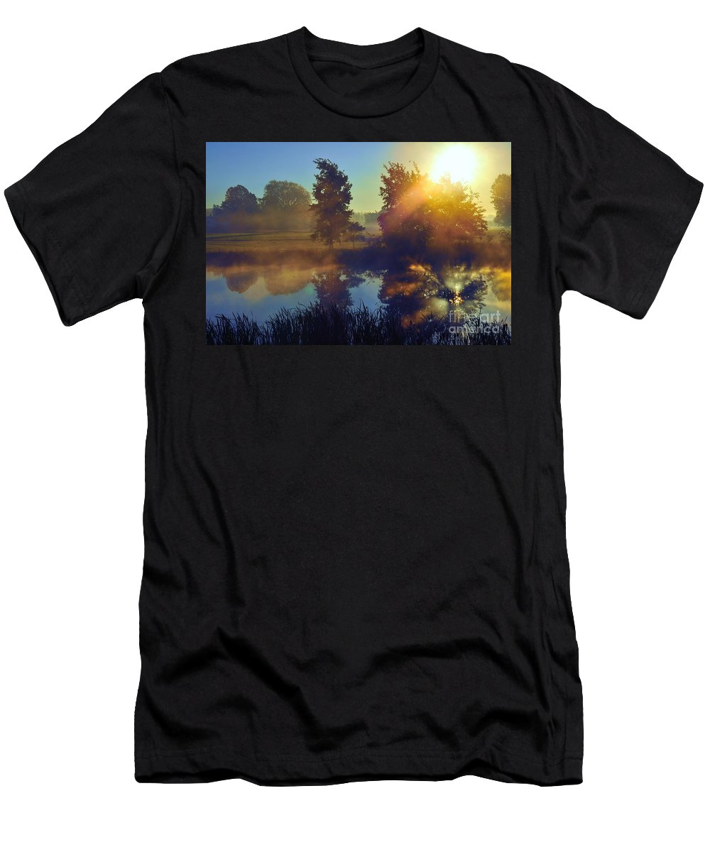 Reflection Men's T-Shirt (Athletic Fit) featuring the photograph Summer Blues by Terri Gostola