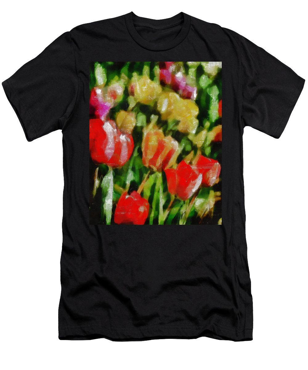 Tulips Men's T-Shirt (Athletic Fit) featuring the mixed media Sunbathing Tulips by Angelina Vick