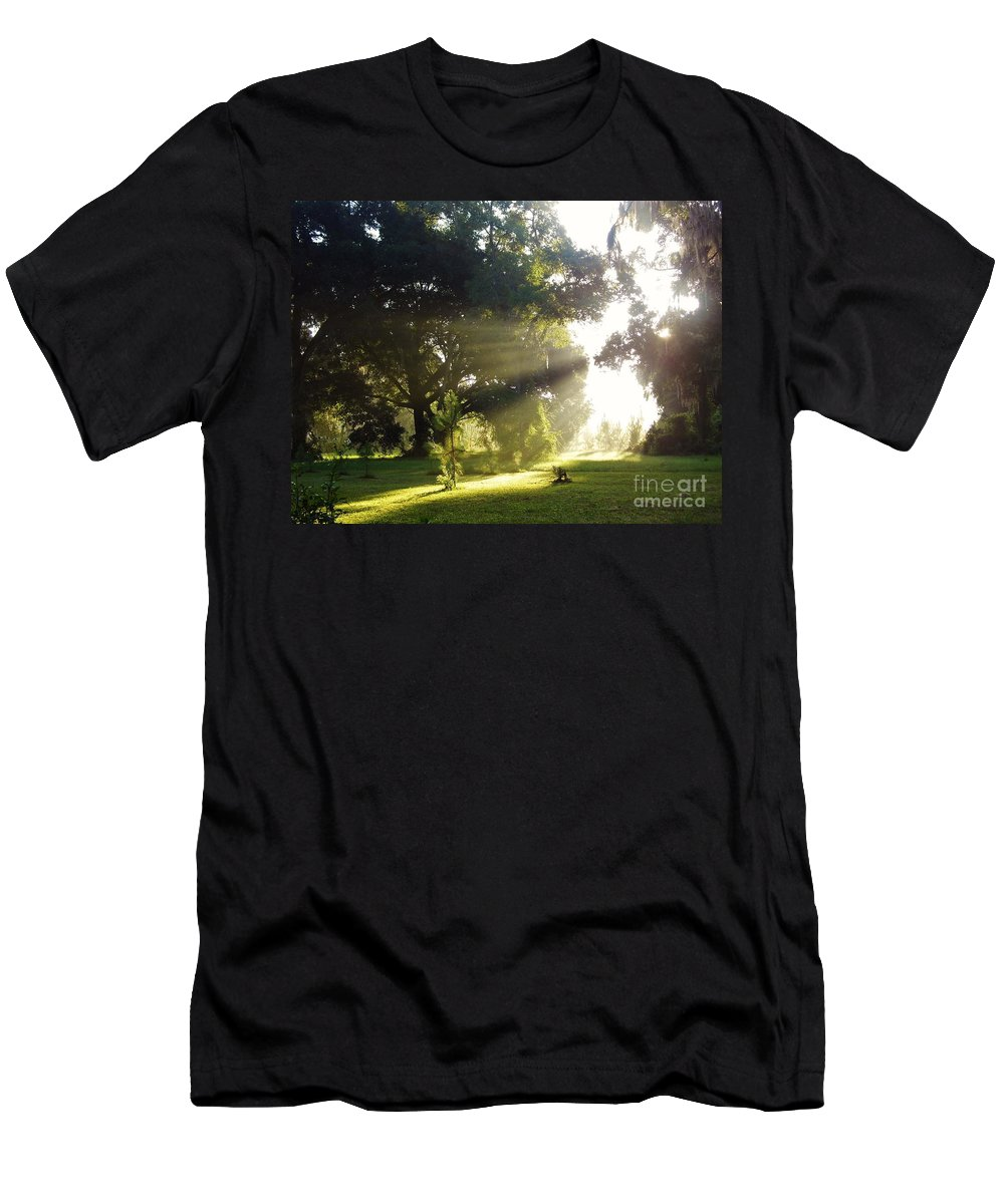 Sunshine Men's T-Shirt (Athletic Fit) featuring the photograph Sunbeam Landscape by D Hackett
