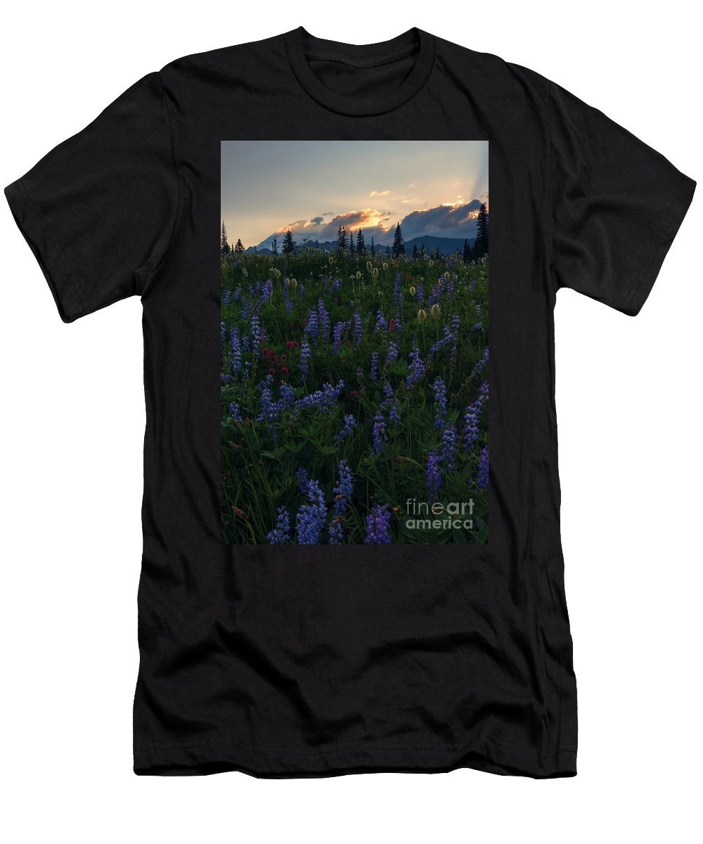 Sunbeams Men's T-Shirt (Athletic Fit) featuring the photograph Sunbeams Over Rainier by Mike Dawson