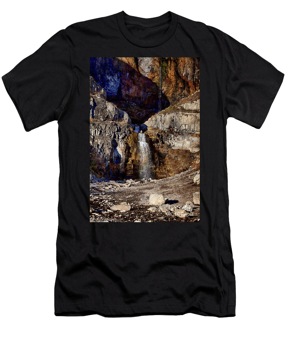 Sundance Aspen Men's T-Shirt (Athletic Fit) featuring the photograph Sundance Aspen Waterfall by Douglas Barnard