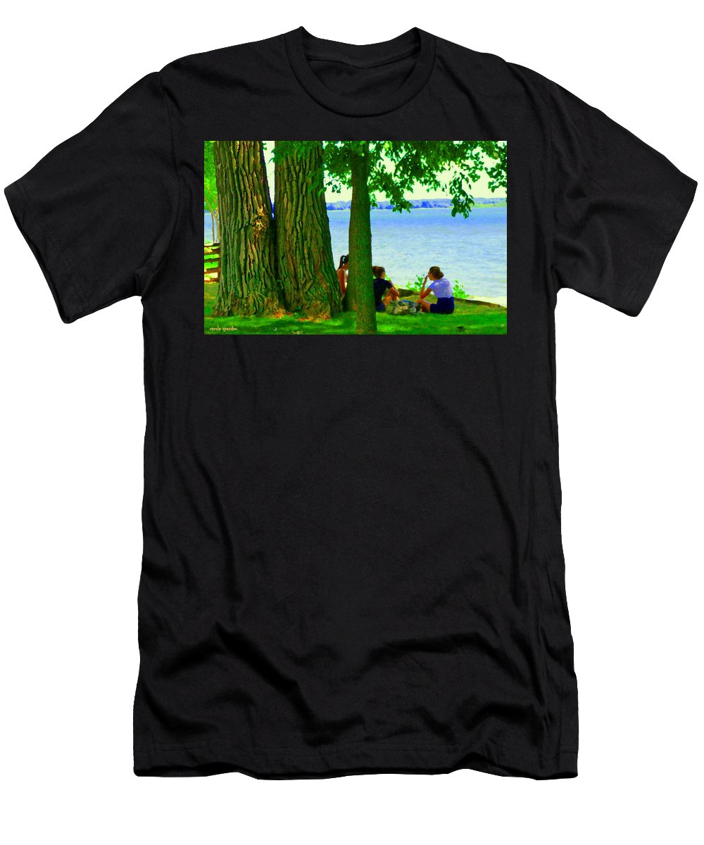 Montreal Men's T-Shirt (Athletic Fit) featuring the painting Sunday Picnic On The Lake Maple Trees At The Canal Pte Claire Montreal Waterscene Carole Spandau by Carole Spandau