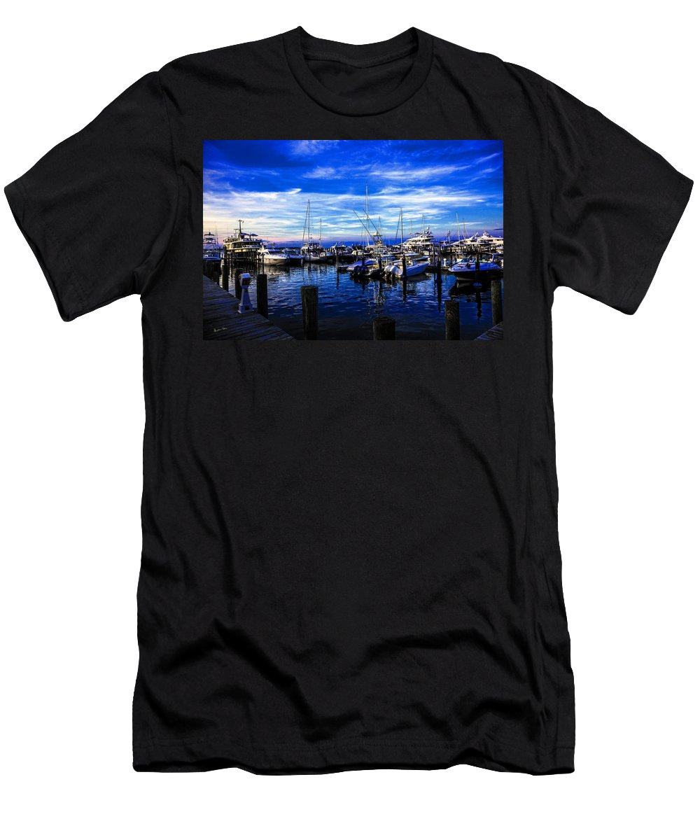 Boats Men's T-Shirt (Athletic Fit) featuring the photograph Sundown In Sag Harbor by Madeline Ellis