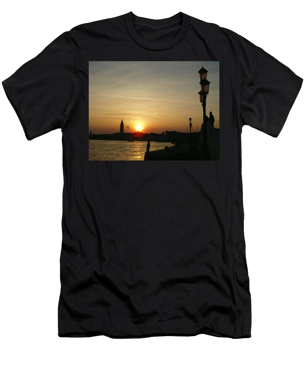 Sundown In Venice Men's T-Shirt (Athletic Fit) featuring the photograph Sundown In Venice by Ellen Henneke