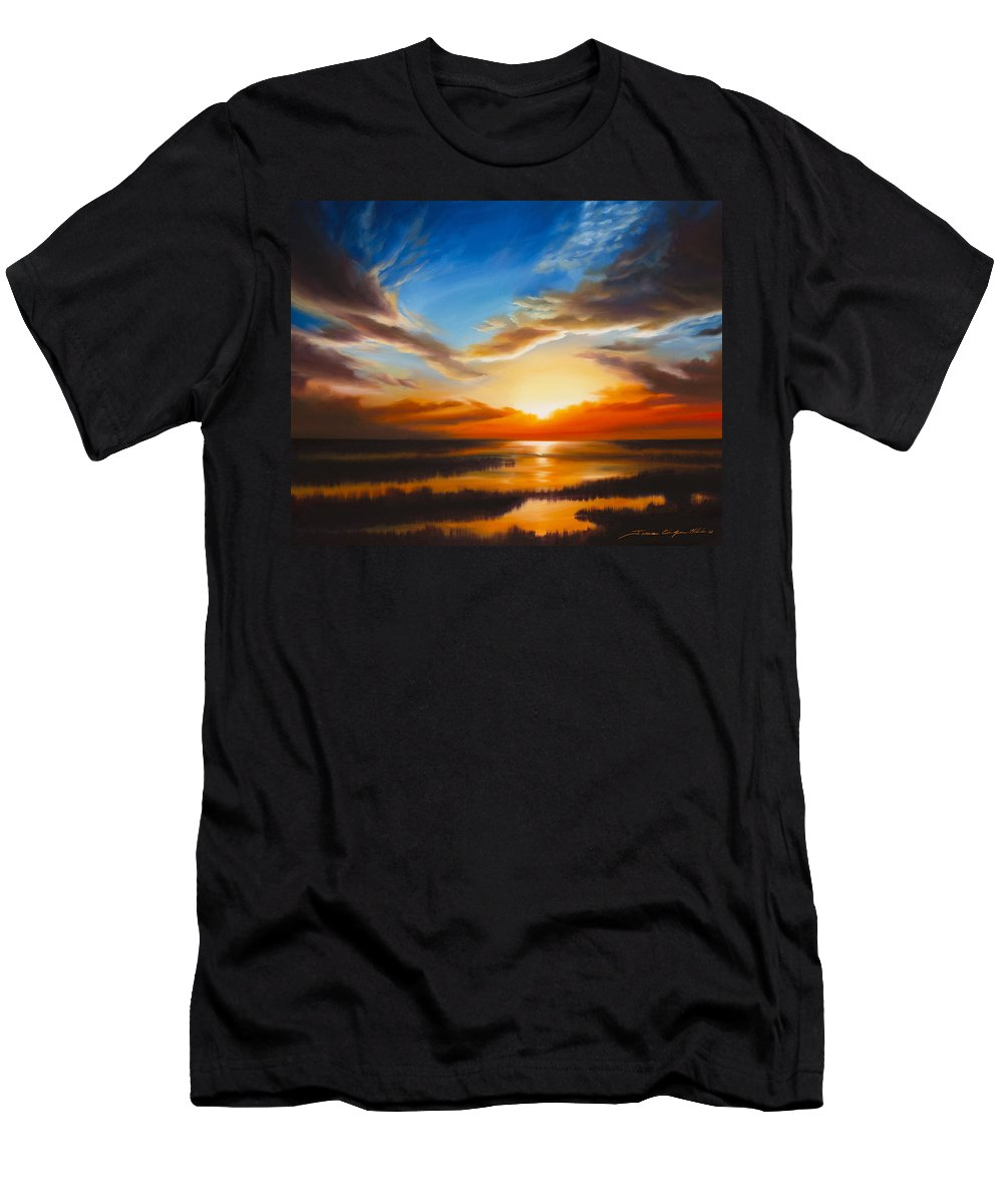 Sunrise T-Shirt featuring the painting Sundown by James Christopher Hill