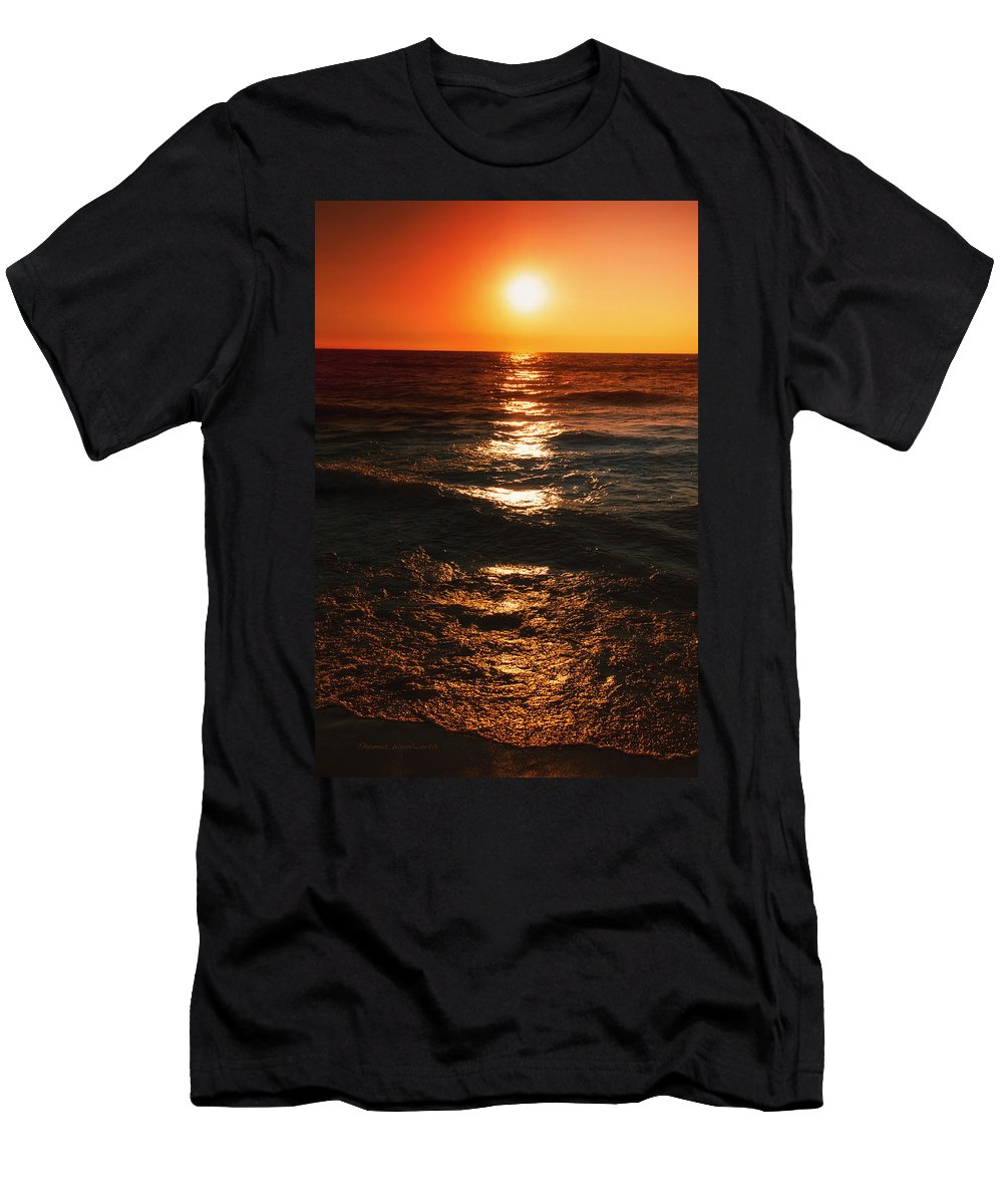 Lake Michigan Men's T-Shirt (Athletic Fit) featuring the photograph Sundown Reflections On Lake Michigan 01 by Thomas Woolworth