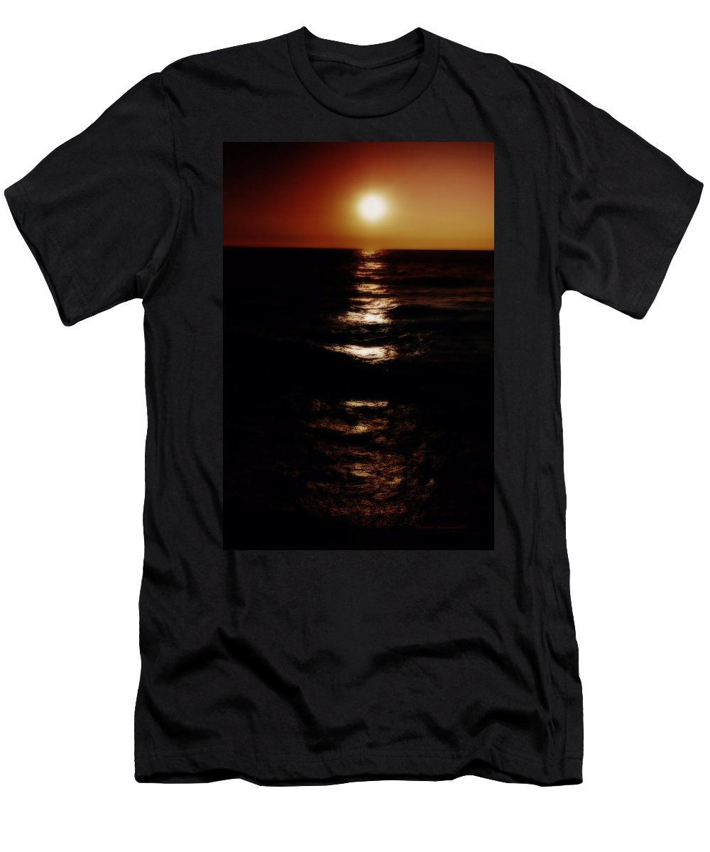 Lake Michigan Men's T-Shirt (Athletic Fit) featuring the photograph Sundown Reflections On Lake Michigan 02 by Thomas Woolworth