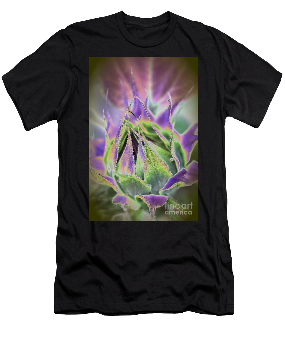 Sunflower Men's T-Shirt (Athletic Fit) featuring the photograph Sunflower Bud Abstract by Christiane Schulze Art And Photography