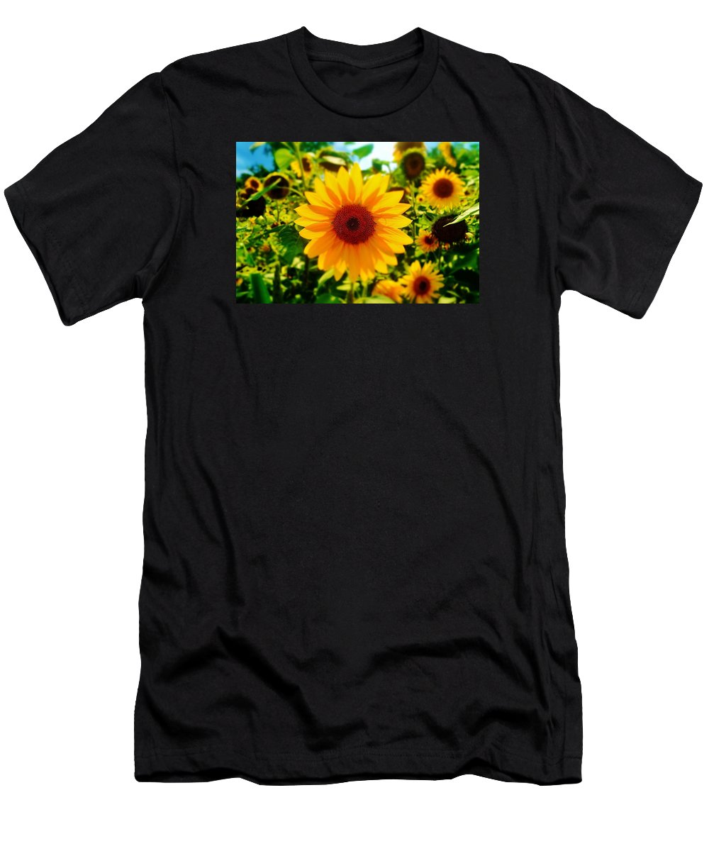Sunflower Men's T-Shirt (Athletic Fit) featuring the photograph Sunflower Centered by Daniel Thompson