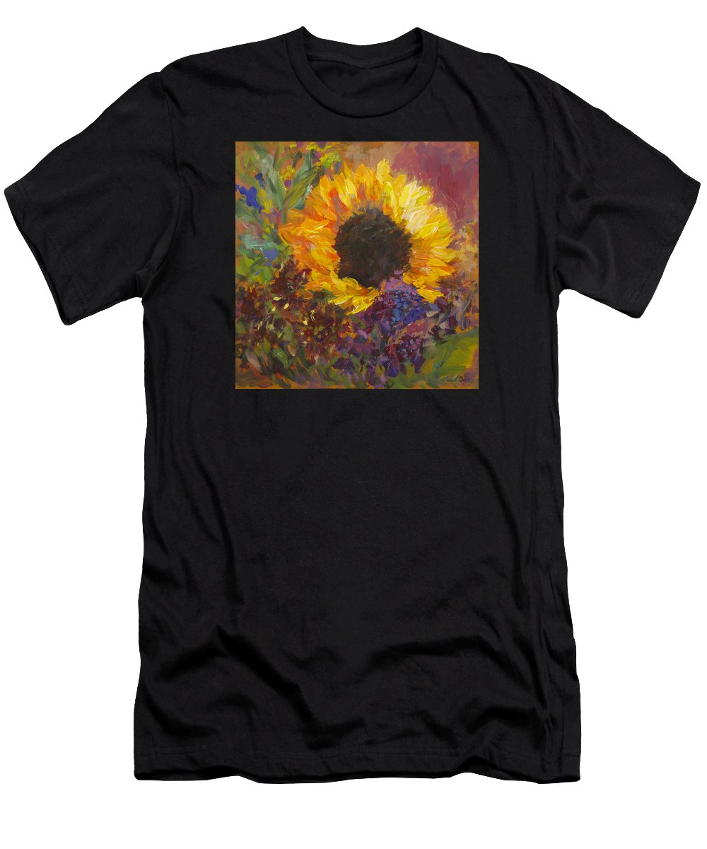 Sunflower Men's T-Shirt (Athletic Fit) featuring the painting Sunflower Dance Original Painting Impressionist by Quin Sweetman