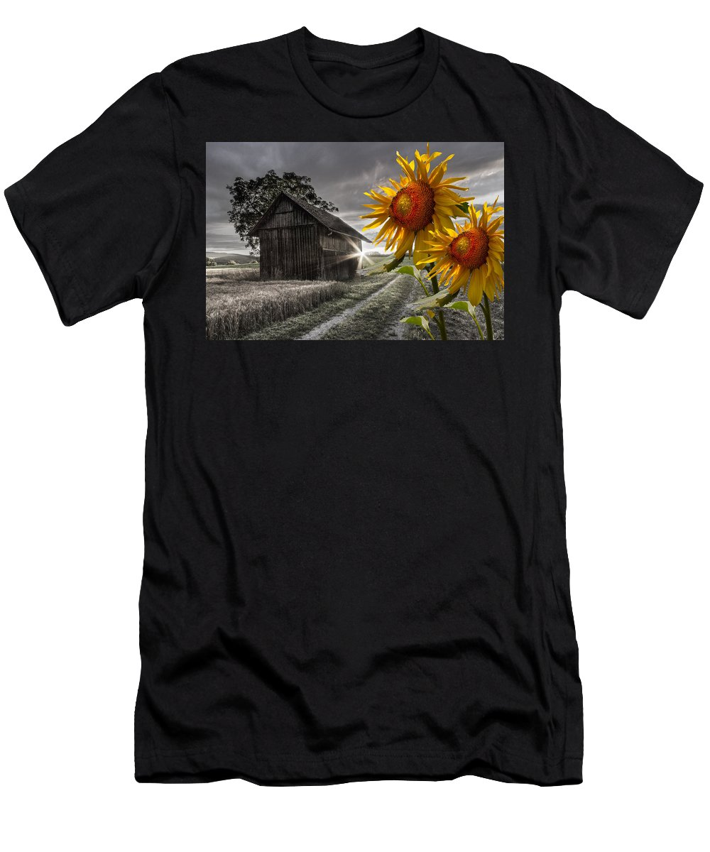 Appalachia Men's T-Shirt (Athletic Fit) featuring the photograph Sunflower Watch by Debra and Dave Vanderlaan