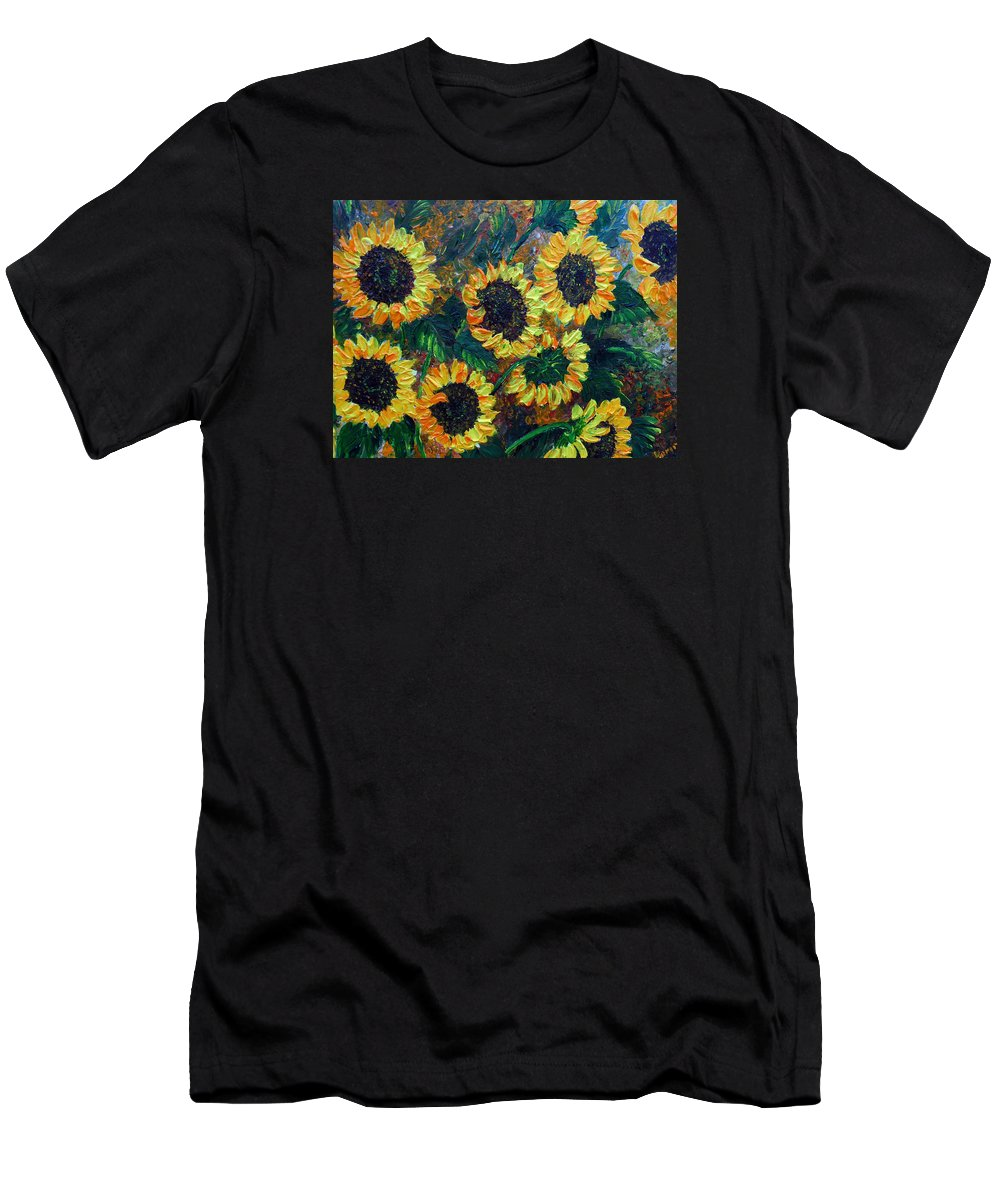 Sunflowers Men's T-Shirt (Athletic Fit) featuring the painting Sunflowers 2 by Karin Dawn Kelshall- Best