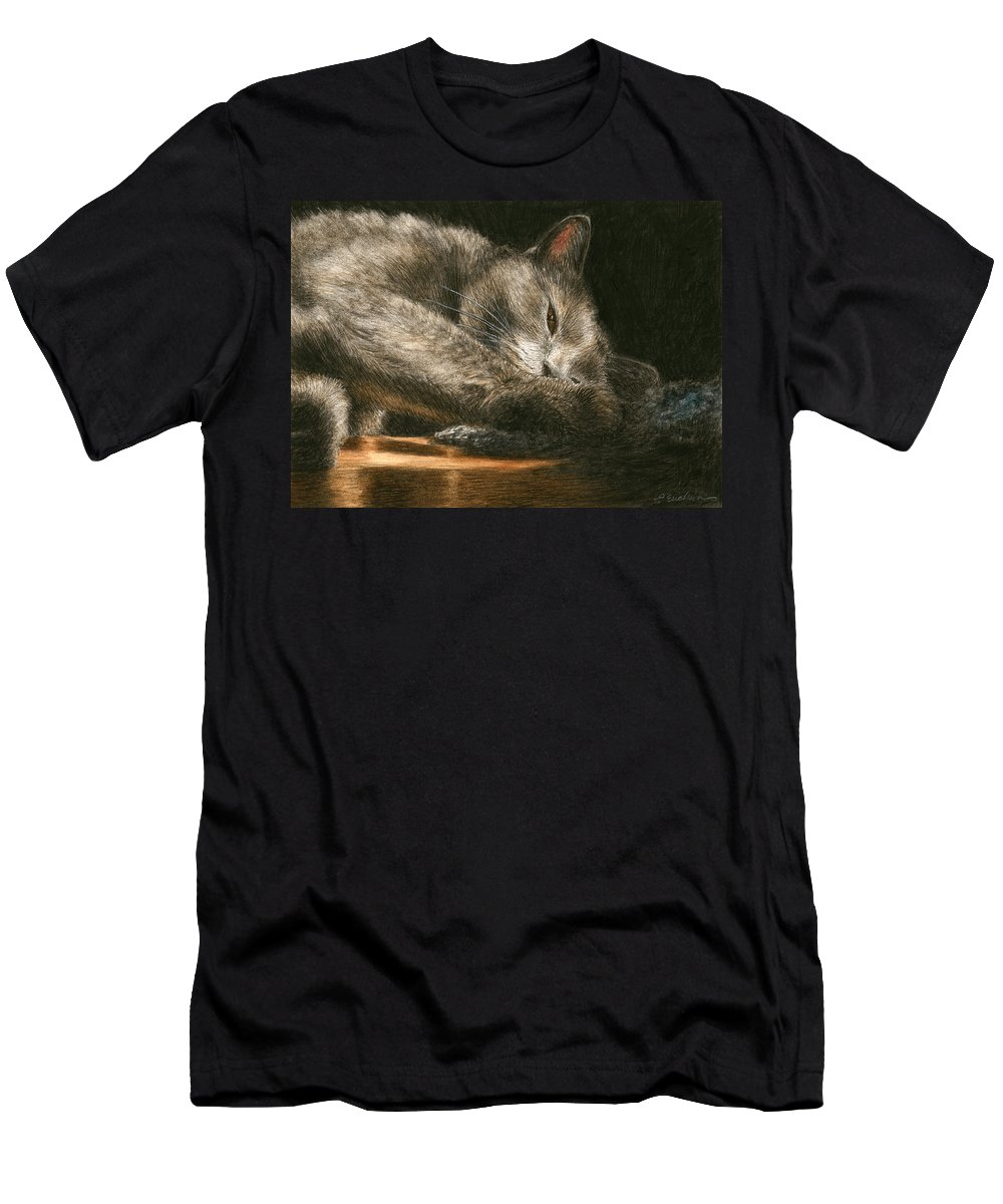 Cat Men's T-Shirt (Athletic Fit) featuring the painting Sunlight by Pat Erickson