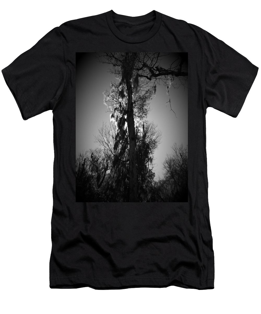 Black Men's T-Shirt (Athletic Fit) featuring the photograph Sunlit Moss by Phil Penne