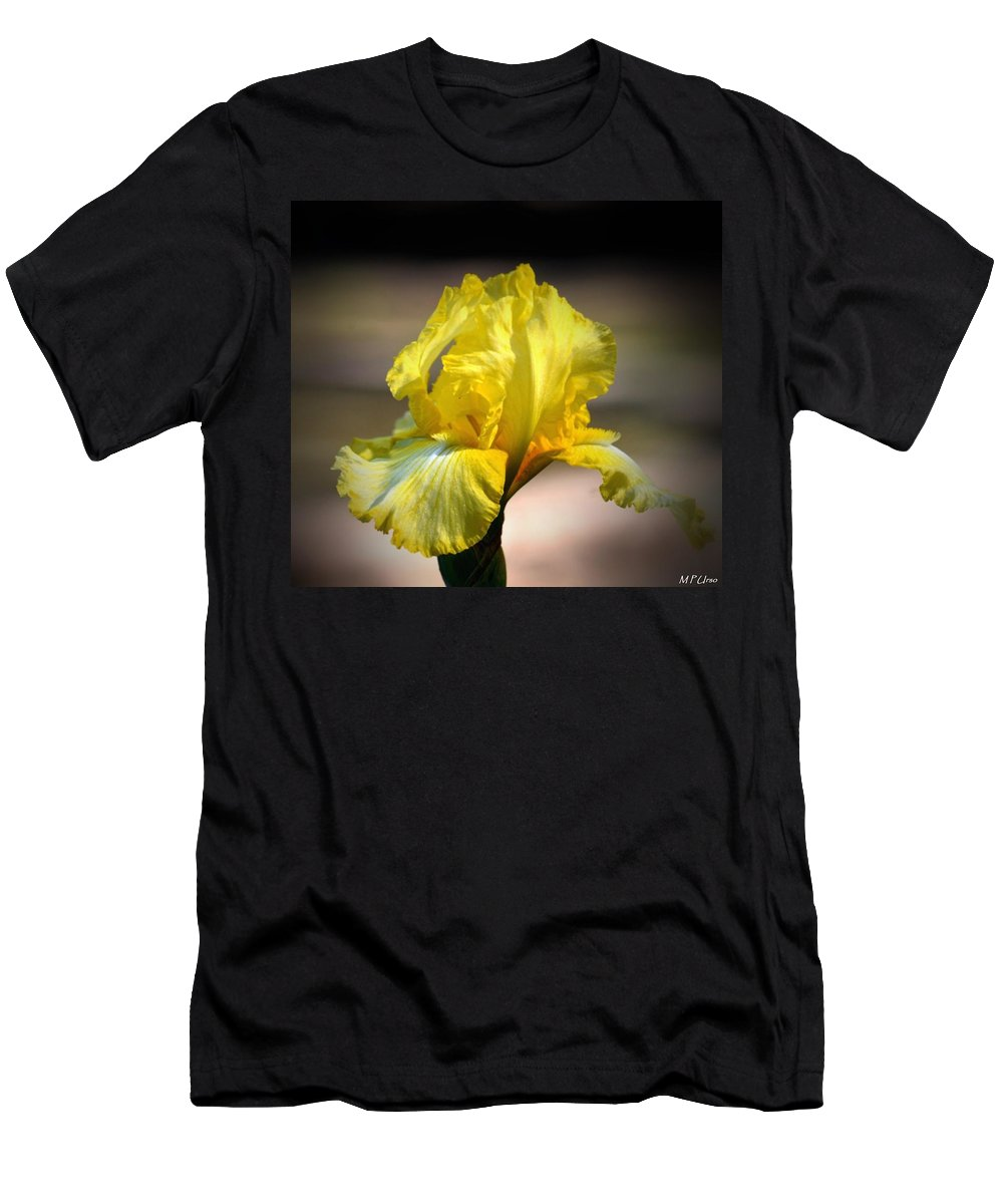 Sunlit Yellow Iris Men's T-Shirt (Athletic Fit) featuring the photograph Sunlit Yellow Iris by Maria Urso